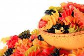 Colorful dry rotini pasta