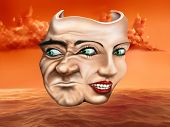 stock photo of insane  - Surreal schizophrenic theater mask depicting mixed emotions - JPG