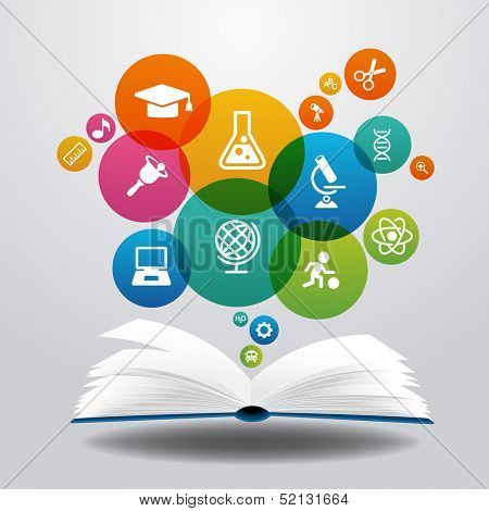 Open books and icons of science. The concept of modern education, File is saved in AI10 EPS version. poster