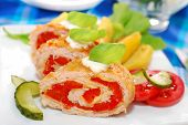Turkey Roulade Stuffed With Cheese And Red Pepper