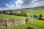 stock photo of swales  - View towards the River Swale near Reeth - JPG