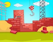 House Construction. Cartoon Background. Vector Illustration EPS 10.