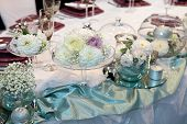 stock photo of unity candle  - Elegant wedding dinner - JPG