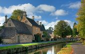 picture of slaughter  - Cotswold cottages at Lower Slaughter near Bourton on the Water - JPG