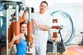 foto of physiotherapy  - Patient at the physiotherapy making physical exercises with her therapist - JPG