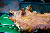 Roasted Pig On A Spit.