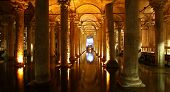 stock photo of underground water  - The underground water cistern in the center of Istanbul - JPG