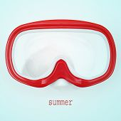 picture of a red and white diving mask and word summer written on a blue background, with a retro effect