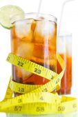 Two Glass Of Soft Drinks With Tape Measure poster