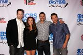 LOS ANGELES - OCT 8:  Michael Muhney, Melissa Claire Egan, Joshua Morrow, Steve Burton at the CBS Da