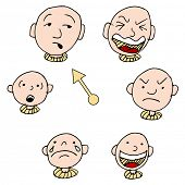 A set of faces showing different face expressions over time.