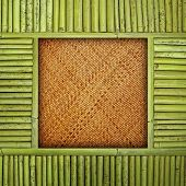 rattan background with bamboo frame
