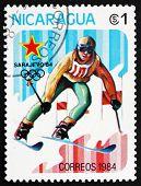 Postage Stamp Nicaragua 1983 Slalom Skiing, 14Th Winter Olympics