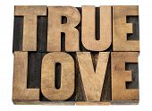 true love - romance concept -isolated text in letterpress wood type blocks