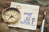 where is my life going - an essential question or searching for purpose  - a napkin doodle with a br