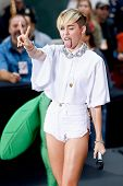 NEW YORK-OCT 7: Recording artist Miley Cyrus performs on NBC's 'Today Show' at Rockefeller Plaza on