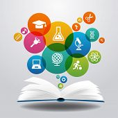 stock photo of education  - Open books and icons of science - JPG