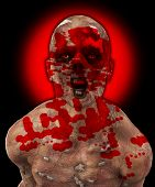 stock photo of festering  - Really horrible looking zombie covered in blood - JPG
