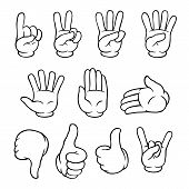 image of numbers counting  - Set of black and white cartoon hands showing various gestures - JPG