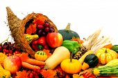 image of horn plenty  - Harvest cornucopia filled with assorted vegetables and fruit - JPG