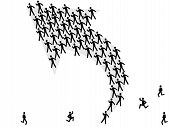 picture of clip-art staff  - a group of symbol people following the arrow direction - JPG