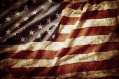 picture of dirty  - Closeup of grunge American flag - JPG
