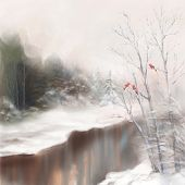 picture of water bird  - Winter watercolor landscape - JPG