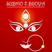 picture of dussehra  - easy to edit vector illustration of Subho Bijoya wishing for Happy Dussehra - JPG