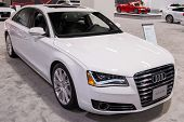 ANAHEIM, CA - OCTOBER 3: An Audi A8 on display at the Orange County International Auto Show in Anaheim, CA on October 3, 2013.