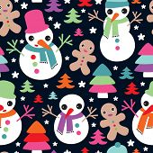 Seamless snow man and ginger bread man christmas friends illustration background pattern in vector