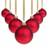 Red Christmas Balls Hanging On Ribbon V Shape