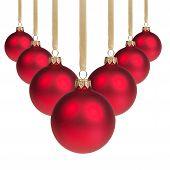 Red Christmas Balls Hanging On Ribbon V Shape