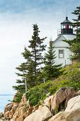 Bass Harbor Light Station Overlooking The Bay