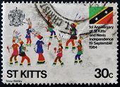 stamp printed in St Kitts and Nevis commemorates the independence 19 september