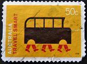 Australia - Circa 2008: A Stamp Printed In Australia Dedicated To A Greener Life, Shows Travel Smart