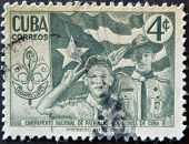 Cuba - Circa 1954: A Stamp Printed In Cuba Dedicated To National Camp Scout Patrols Of Cuba