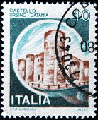 Italy - Circa 1980: A Stamp Printed In Italy Shows Castle Ursino, Catania, Italian Series Of Castles