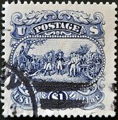 A stamp printed in USA shows Surrender of General John Burgoyne at Saratoga