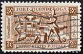 United States Of America - Circa 1955 : A Stamp Printed In The Usa Shows Fort Ticonderoga