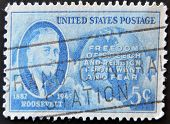 A stamp printed in the USA shows Roosevelt portrait Freedom of speech and religion from want and fea