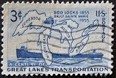 Sa - Circa 1956 : A Stamp Printed In The Usa Shows A Century Of Great Lakes Transportation