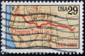 United States Of America - Circa 1993 : A Stamp Printed In Usa Shows Oregon Trail, Circa 1993