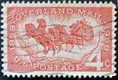 United States Of America - Circa 1958: A Stamp Printed In Usa Celebrating 100 Years Of Overland Mail