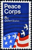 United States - Circa 1971: Stamp Printed In Usa Shows American Flag, Peace Corps Poster, Circa 1971