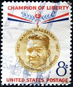 stamp printed by United states shows Champion of Liberty Ramon Magsaysay Philippines President