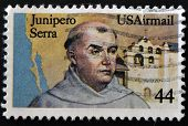 a stamp printed in USA shows Fr. Junipero Serra California Missionary and San Gabriel Mission
