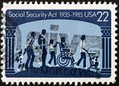 United States Of America - Circa 1985: A Stamp Printed In Usa Dedicated To Social Security Act
