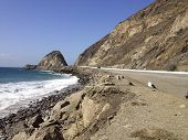 stock photo of pch  - California Pacific Coast Highway One near Point Mugu in Ventura County - JPG