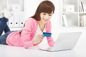 Happy Woman Online Shopping At Home