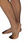 foto of fishnet stockings  - A woman without shoes in fishnet stockings - JPG